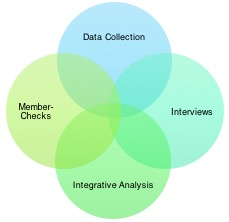 venn diagram combining data collection, member checks, interviews, and integrative analysis